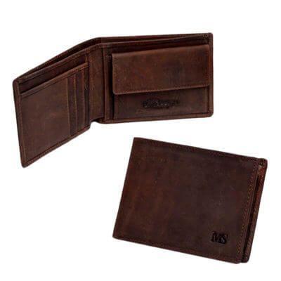 7abd65cb2 Foto de presentación de billetera vintage bifold con monedero de cuero  natural en color café se