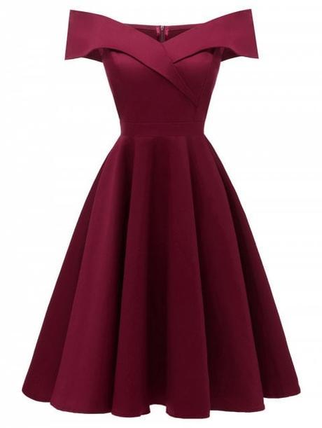 Foldover Off The Shoulder Skater Cocktail Dress - RED WINE S