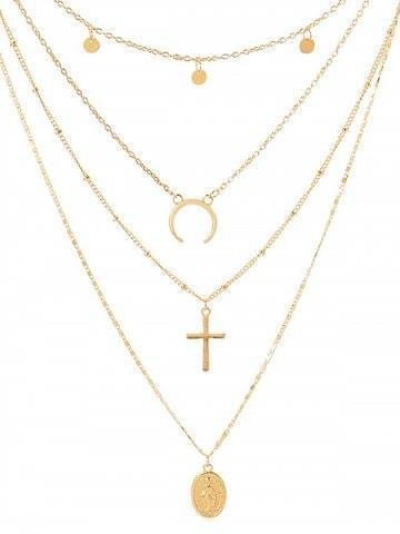Forma de cruz de la decoración de la moneda collar de varias capas