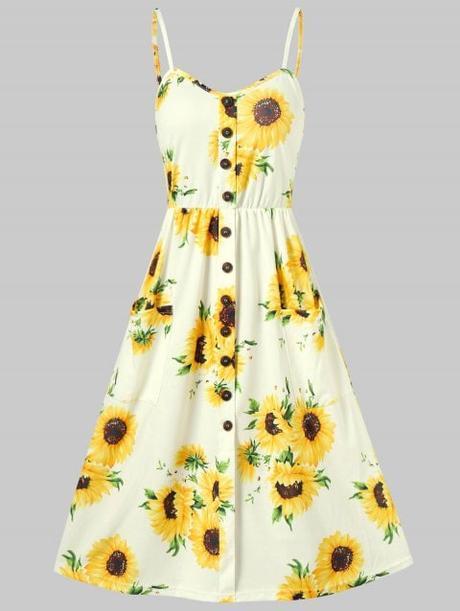 Sunflower Print Button Up A Line Cami Dress - YELLOW M