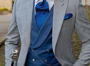 Chaqué novio príncipe gales gris azul
