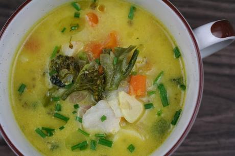 Chowder de Merluza con un toque de Curry