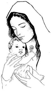 IMÁGENES PARA COLOREAR: LA VIRGEN MARÍA Y EL NIIÑO JESÚS