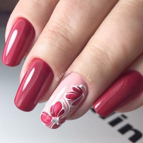 Uñas Con Flores Rojas (10)