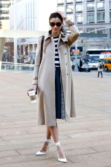 white shoes coat navy