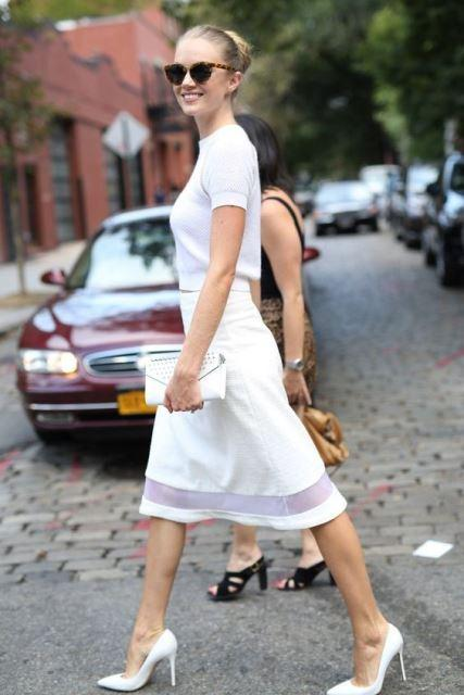 white shoes skirt