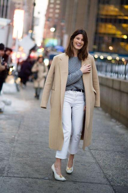 white shoes coat