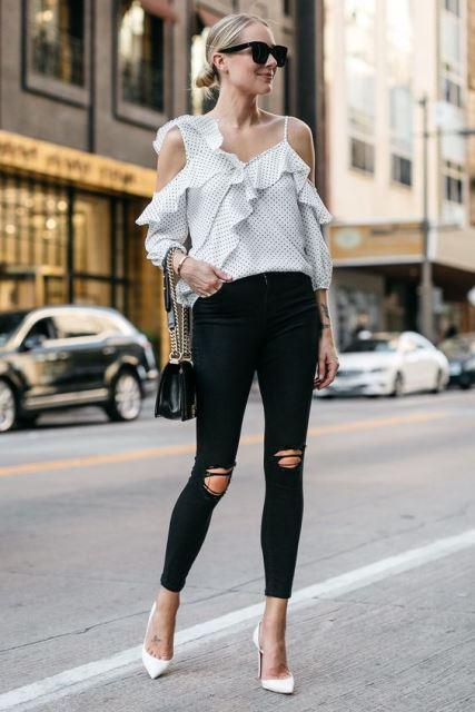 white shoes black slim pants