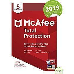 McAfee Total Protection 2019 - Antivirus, PC/Mac/Android/Smartphones, 5 Dispositivos, Suscripción de 1 año Código de activación por correo
