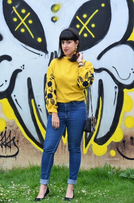 Jersey con mangas de flores
