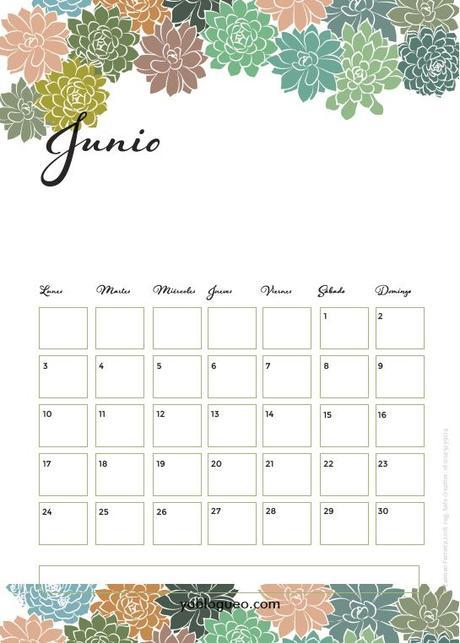 Calendario junio PDF descargable gratuito