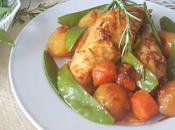 Pollo verduras primavera