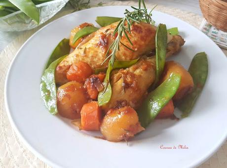 Pollo con verduras de primavera
