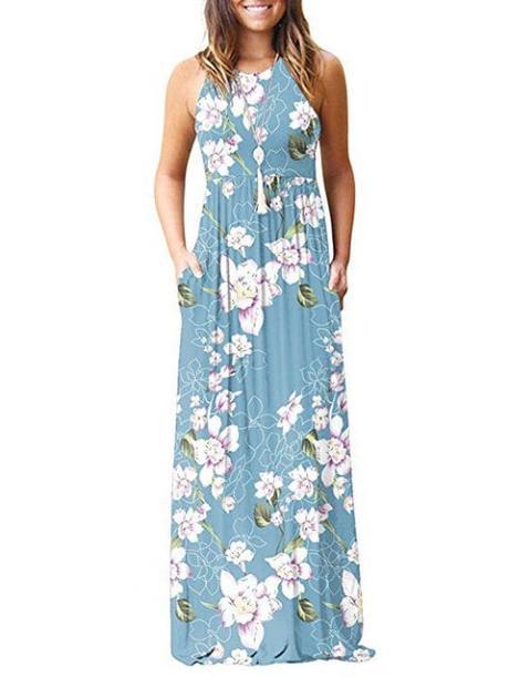 Floral Racerback Pocket Dress - multicolor D 2XL