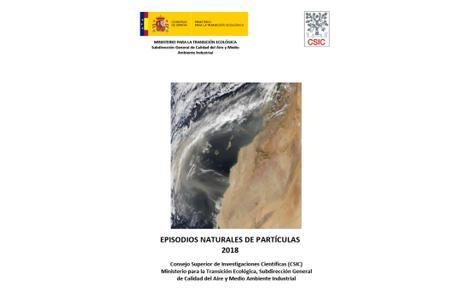 España: informe sobre episodios naturales de partículas 2018