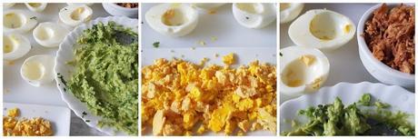 Huevos rellenos de guacamole y cebolla crujiente