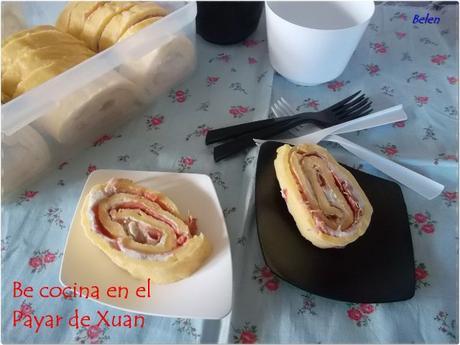 Rollo de tortilla y jamón