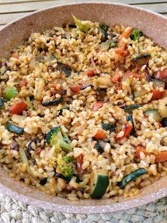 Risotto integral con verduras - Sin leche, sin huevo, sin soja, sin gluten y vegano
