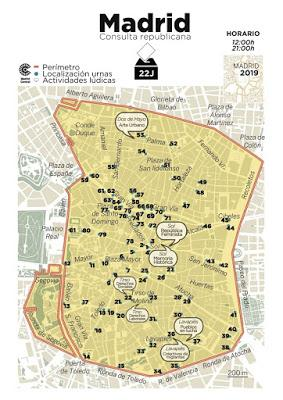 Vuelven los referendums republicanos al centro de Madrid.