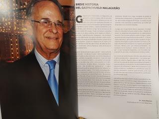 GYOZA RELLENA DE PESCADO Y LANGOSTINOS CON AROMA DE VINO FINO AMONTILLADO SOBRE GAZPACHUELO CON CHICHAROS Y PAN FRITO