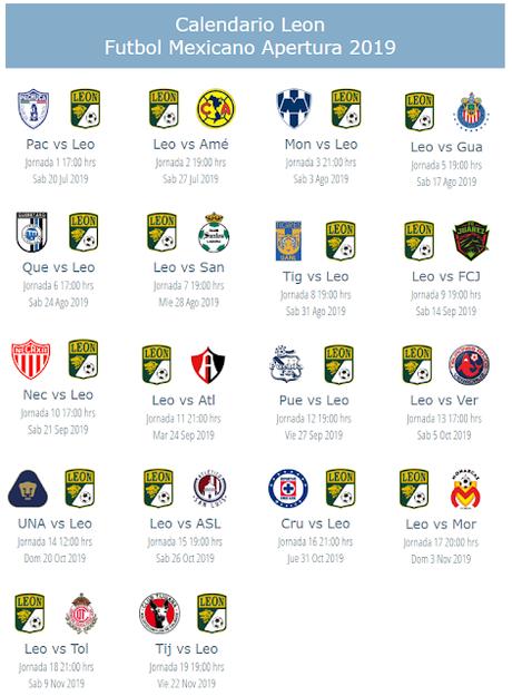 Calendario Futbol 2019.Calendario Leon Fc Apertura 2019 Paperblog