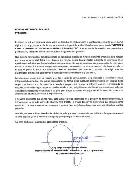 Derecho de Réplica de la empresa Ciudad Maderas