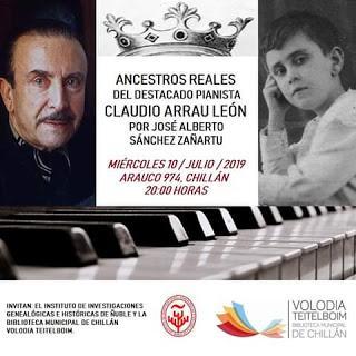 Ancestros reales del destacado pianista Claudio Arrau León.