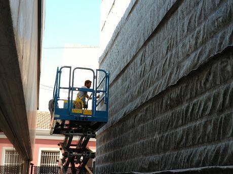 Instalación del geotextil de jardín de San Vicente del Raspeig