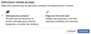 seleccionar metodo de pago para tienda en pagina de facebook