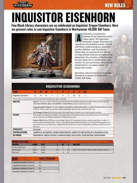Perfil corregido del Inquisidor Eisenhorn para Kill Team