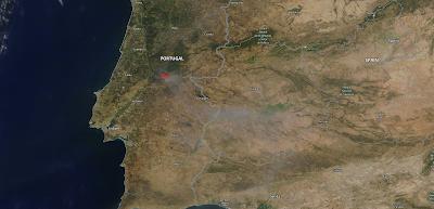 Portugal: imagen satélite del humo de los incendios (21-07-2019)