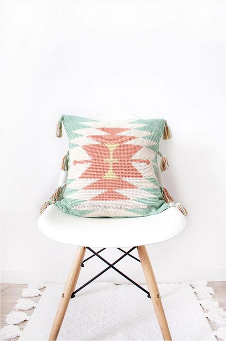 Cómo tejer un cojín Tapestry ETNIC de crochet- Patrón y Tutorial