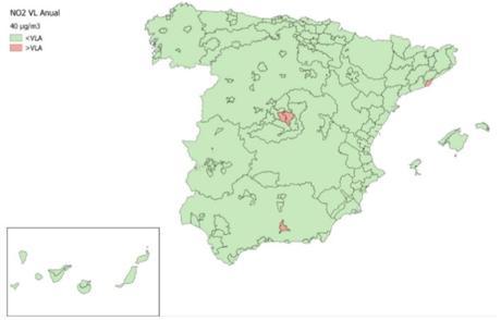 Calidad del Aire en España 2018. Evaluación de cumplimiento de Valor Límite Anual de NO2