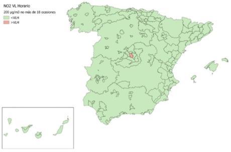 Calidad del Aire en España 2018. Evaluación de cumplimiento de Valor Límite Horario de NO2