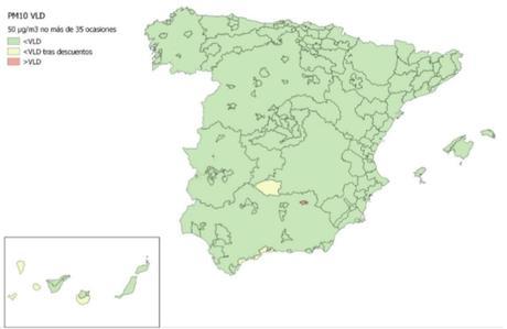 Calidad del Aire en España 2018. Evaluación de cumplimiento de Valor Límite Diario de PM10