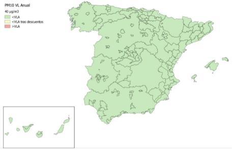 Calidad del Aire en España 2018. Evaluación de cumplimiento de Valor Límite Anual de PM10
