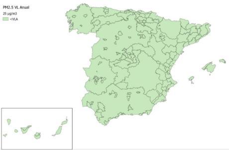 Calidad del Aire en España 2018. Evaluación de cumplimiento de Valor Límite Anual de PM2.5
