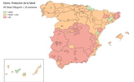 Calidad del Aire en España 2018. Evaluación de cumplimiento de Valor Objetivo de Ozono para protección de la salud