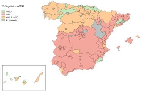 Calidad del Aire en España 2018. Evaluación de cumplimiento de Valor Objetivo de Ozono para protección de la vegetación