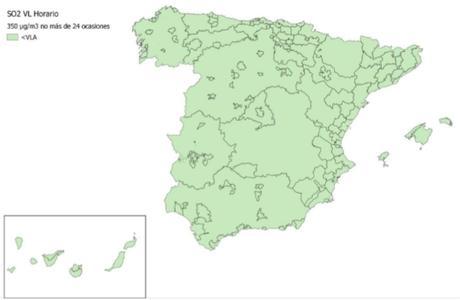 Calidad del Aire en España 2018. Evaluación de cumplimiento de Valor Límite Horario de SO2