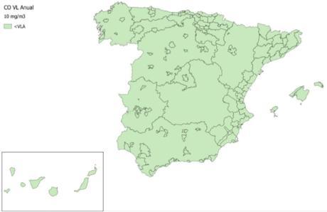 Calidad del Aire en España 2018. Evaluación de cumplimiento de Valor Límite Anual de Monóxido de Carbono (CO)