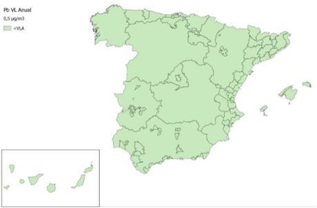 Calidad del Aire en España 2018. Evaluación de cumplimiento de Valor Límite Anual de Plomo