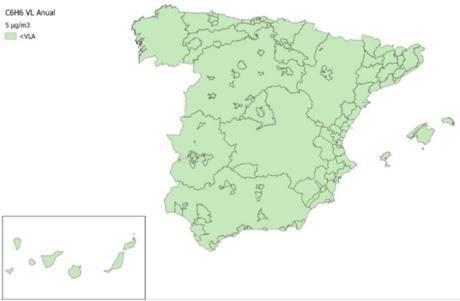Calidad del Aire en España 2018. Evaluación de cumplimiento de Valor Límite Anual de Benceno