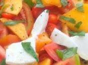 Ensalada melocoton tomate mozzarella
