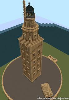 Réplica Minecraft de la Torre de Hércules, La Coruña, Galicia, España.