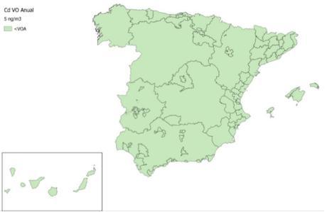 Calidad del Aire en España 2018. Evaluación de cumplimiento de Valor Objetivo de Cadmio