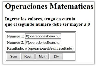 Ejemplo Operaciones Matemáticas con JSF