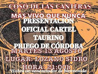 MAÑANA SE PRESENTA EL CARTEL DEL FESTEJO TAURINO DE LA FERIA REAL DE PRIEGO