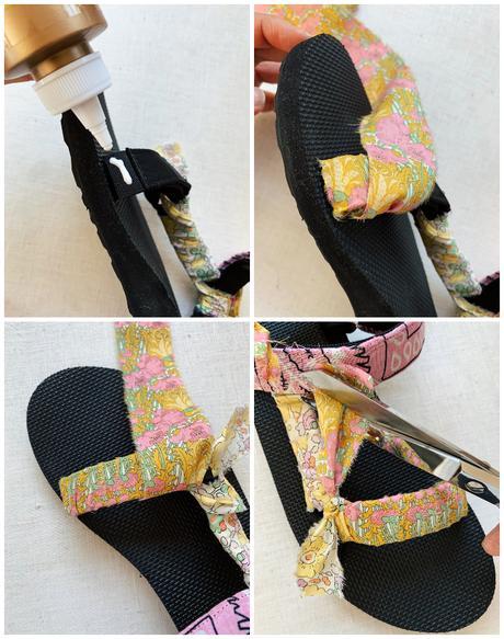Sandalias decoradas con pañuelos de la cabeza