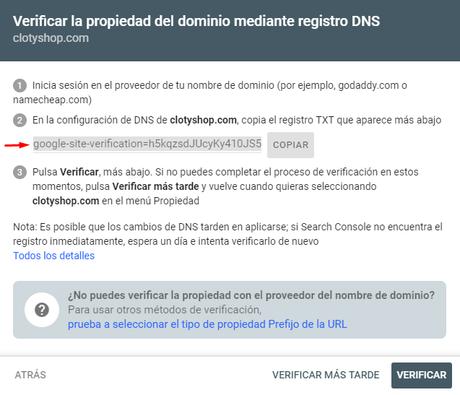 Verificar propiedad en google search Console por DNS
